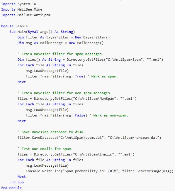MailBee.NET AntiSpam Screen shot