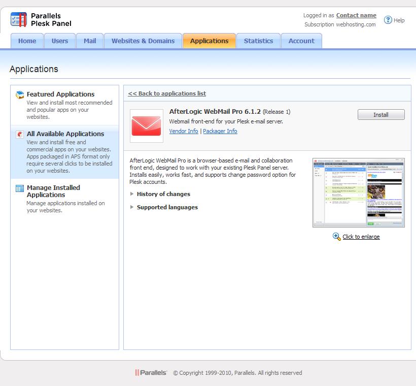 Install on Plesk Panel - WebMail Pro 7 documentation