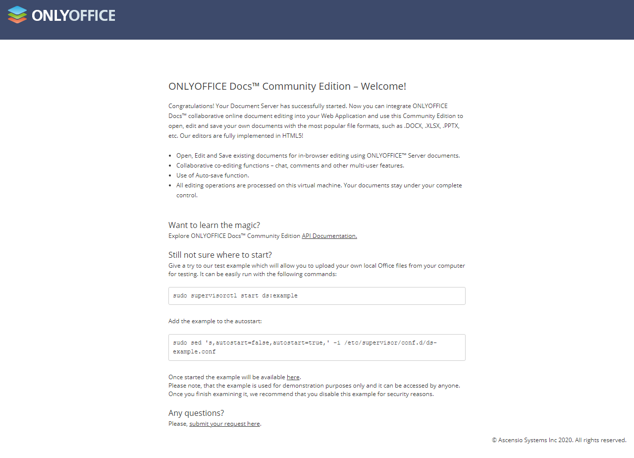OnlyOffice welcome screen
