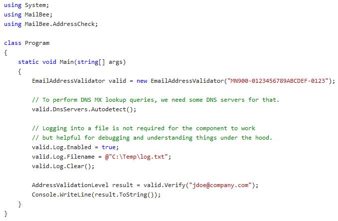 MailBee.NET Address Validator