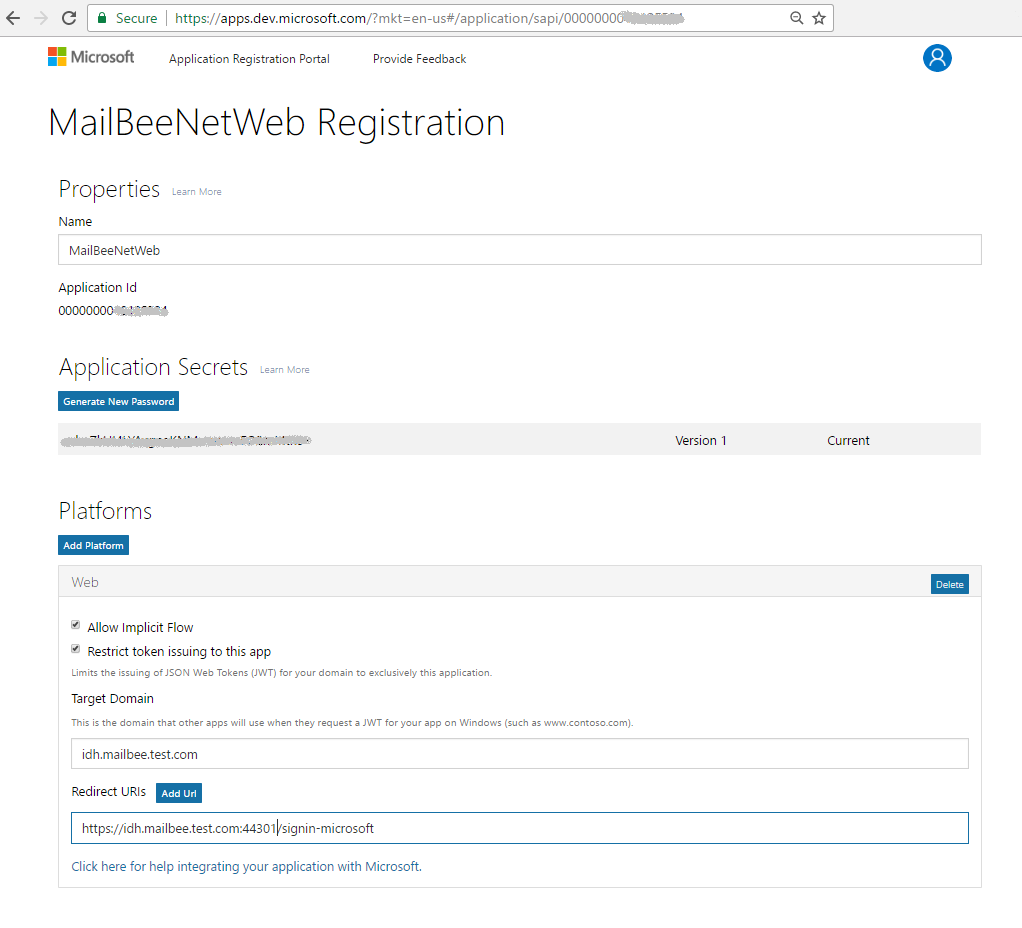 Oauth 20 with imapsmtp for microsoft outlook and google on the next screen click add platform and and select web application then save changes youll be redirected to the app registration page xflitez Gallery